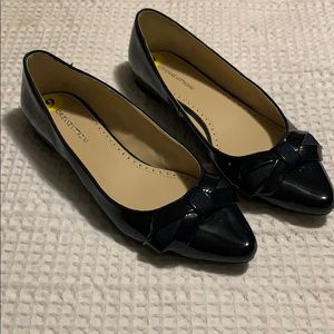 Navy patent leather flats